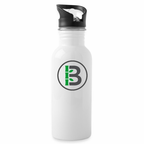 Biomboo Logo Circle Charcoal - Water bottle with straw