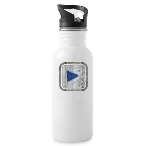 hier entlang ! - Trinkflasche mit integriertem Trinkhalm