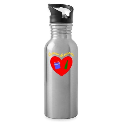 Amor de verano corazon - Botella cantimplora con pajita integrada