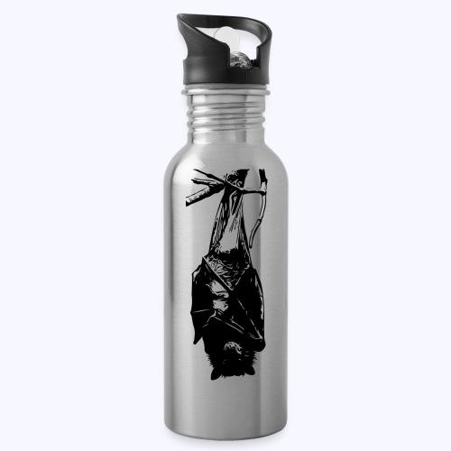 HangingBat schwarz - Trinkflasche mit integriertem Trinkhalm