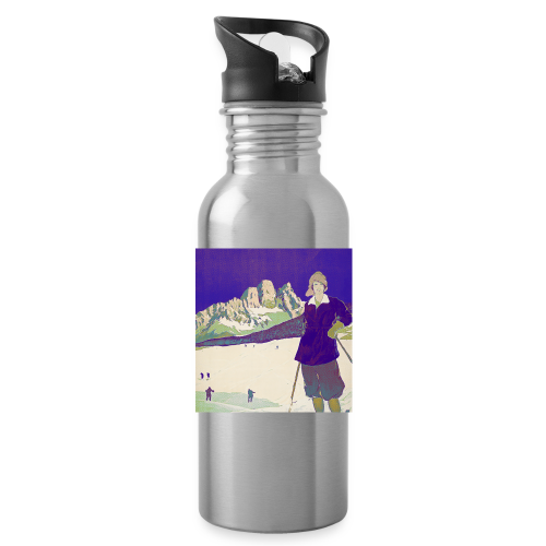 Ski trip vintage poster - Water Bottle