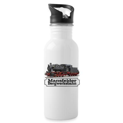 mansfelder bergwerksbahn dampflok 1 - Trinkflasche mit integriertem Trinkhalm