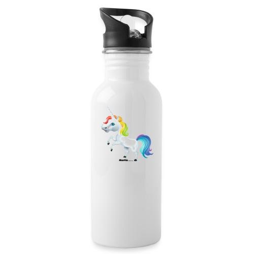 Rainbow enhjørning - Drikkeflaske med integrert sugerør