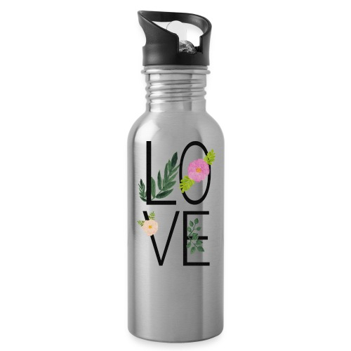 Love Sign with flowers - Water Bottle