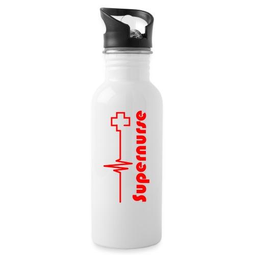 Supernurse_Red_Flasche - Trinkflasche mit integriertem Trinkhalm