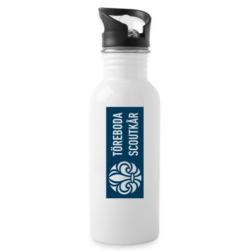 Logga blå - Vattenflaska med integrerat sugrör