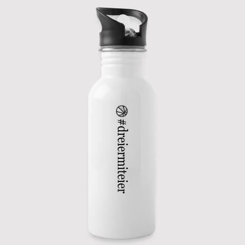 dreiermiteier Text schwar - Trinkflasche mit integriertem Trinkhalm