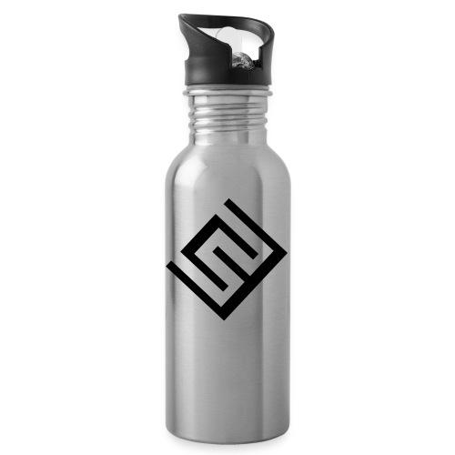 ChrisWhippit Logo svart - Vattenflaska med integrerat sugrör