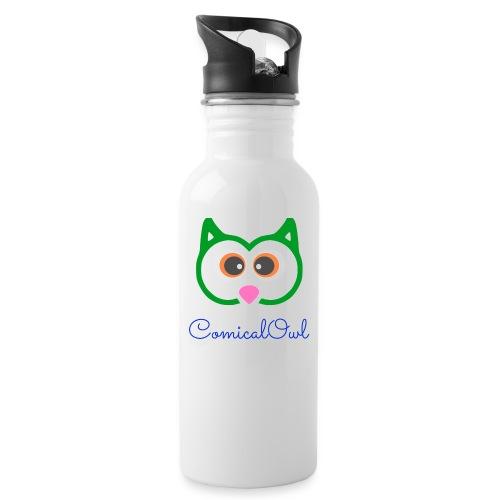 Cartoon Owl - Water bottle with straw