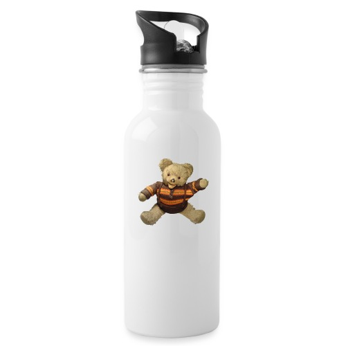Teddybär - orange braun - Retro Vintage - Bär - Trinkflasche mit integriertem Trinkhalm