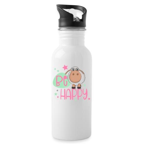 Be happy Schaf - Glückliches Schaf - Glücksschaf - Trinkflasche mit integriertem Trinkhalm
