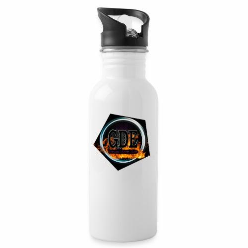 GDE Logo 4 - Trinkflasche mit integriertem Trinkhalm