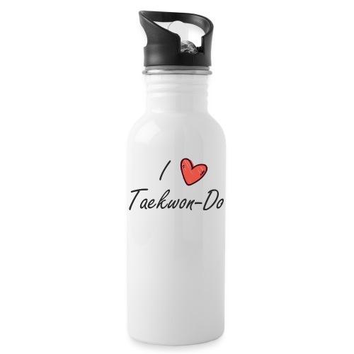I love taekwondo letras negras - Botella cantimplora con pajita integrada