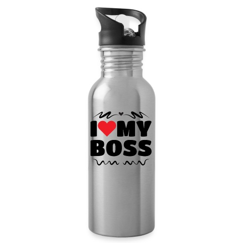 I love my Boss - Water bottle with straw
