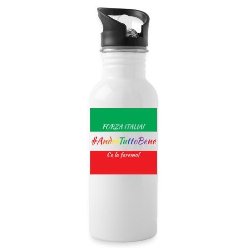 Andrà Tutto Bene su Bandiera Italiana - Borraccia con cannuccia integrata