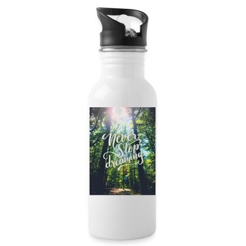 Never stop dreaming - Trinkflasche mit integriertem Trinkhalm