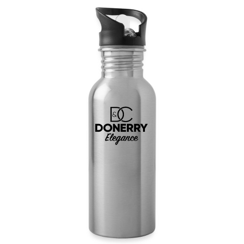 Donerry Elegance Black Logo on White - Water bottle with straw