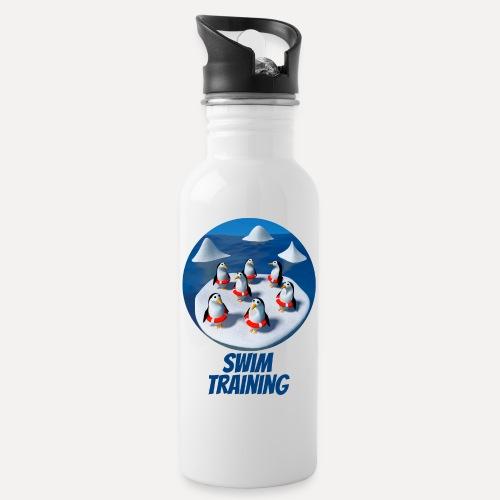 Pinguine beim Schwimmunterricht - Water bottle with straw