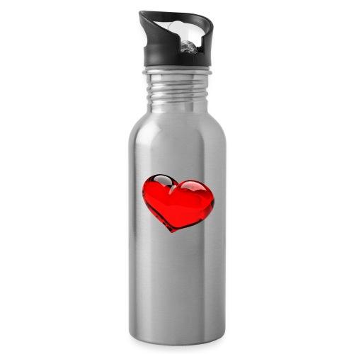 serce 3D - Bidon z wbudowaną słomką