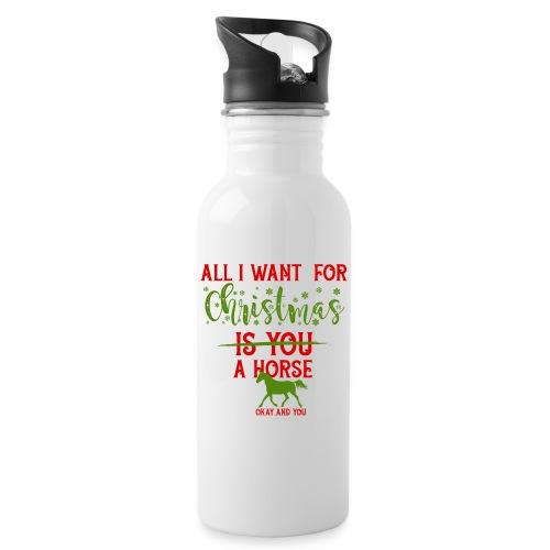 Weihnachts Wunschzettel - Pferd - Trinkflasche mit integriertem Trinkhalm