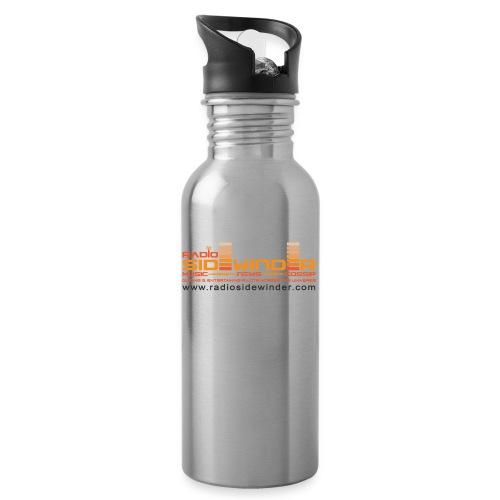 Radio Sidewinder logo and url dark - Water bottle with straw