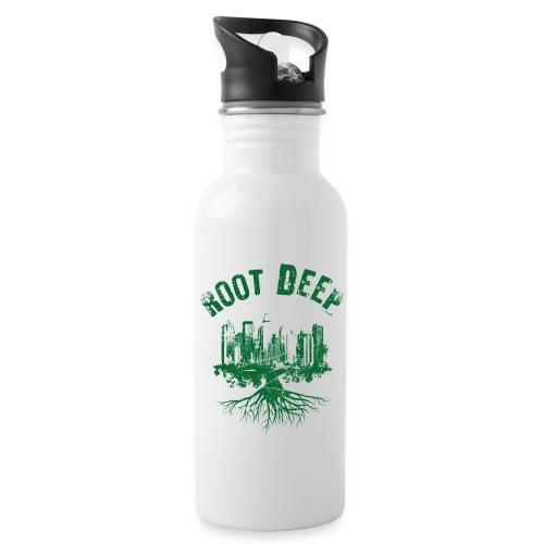 Root deep Urban grün - Trinkflasche mit integriertem Trinkhalm