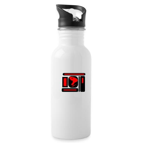 black and red hot P - Trinkflasche mit integriertem Trinkhalm