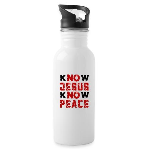 Know Jesus Know Peace (Flower Design) - Trinkflasche mit integriertem Trinkhalm