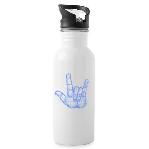 Sketchhand ILY - Trinkflasche mit integriertem Trinkhalm