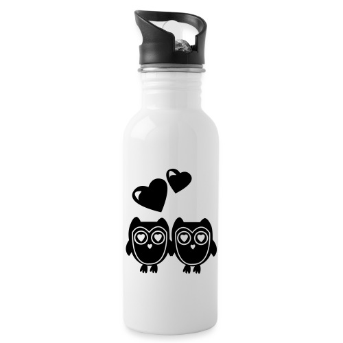 verliebte Eulen - Trinkflasche mit integriertem Trinkhalm
