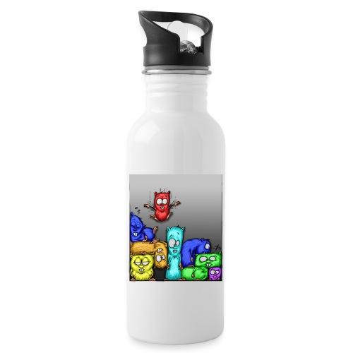 hamstris_farbe - Trinkflasche mit integriertem Trinkhalm