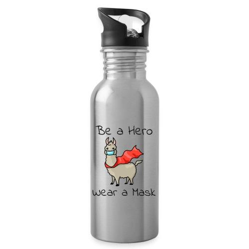 Sei ein Held, trag eine Maske! - Trinkflasche mit integriertem Trinkhalm
