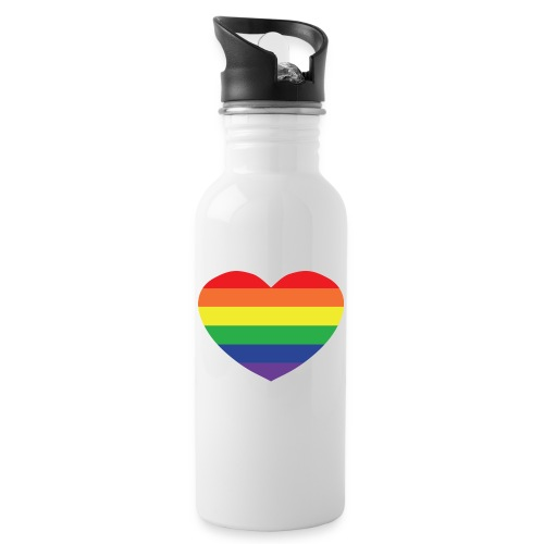 Rainbow heart - Water bottle with straw
