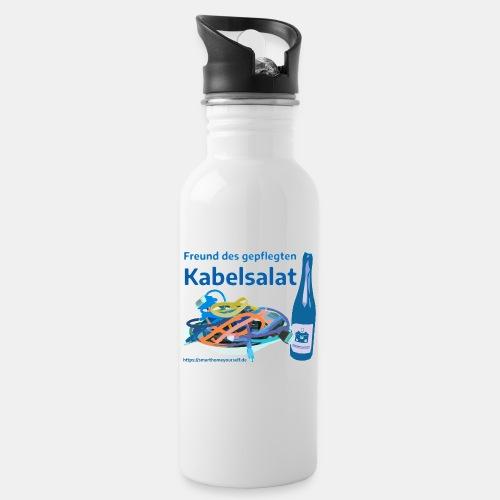 Freund des gepflegten Kabelsalat - Comic - Trinkflasche mit integriertem Trinkhalm