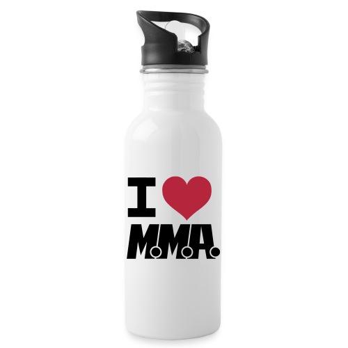 I HEART MMA WHITE BG - Water bottle with straw