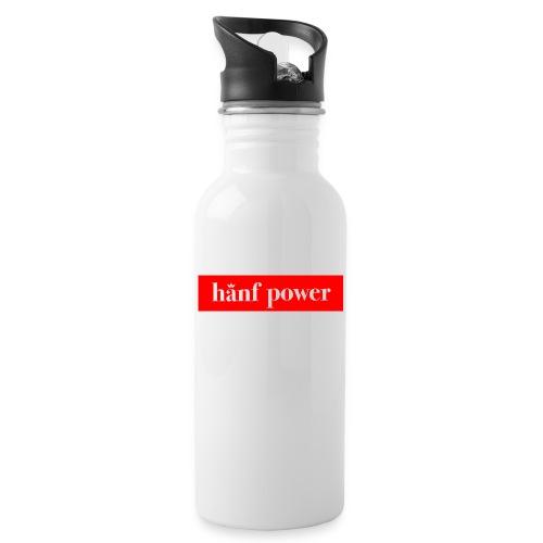 Hanf Power RED - Trinkflasche mit integriertem Trinkhalm