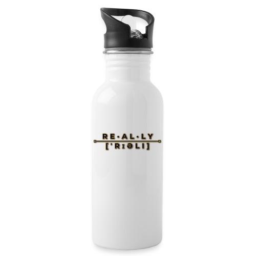 really slogan - Trinkflasche mit integriertem Trinkhalm