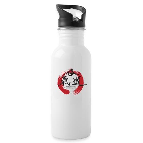 KAK logo black ink - Drikkeflaske med integreret sugerør