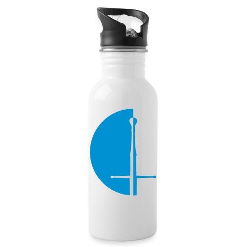 Design Logo blaue Hälfte - Trinkflasche mit integriertem Trinkhalm