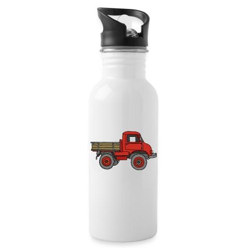 Roter Lastwagen, LKW, Laster - Trinkflasche mit integriertem Trinkhalm