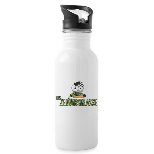 Zebra bunt - Trinkflasche mit integriertem Trinkhalm