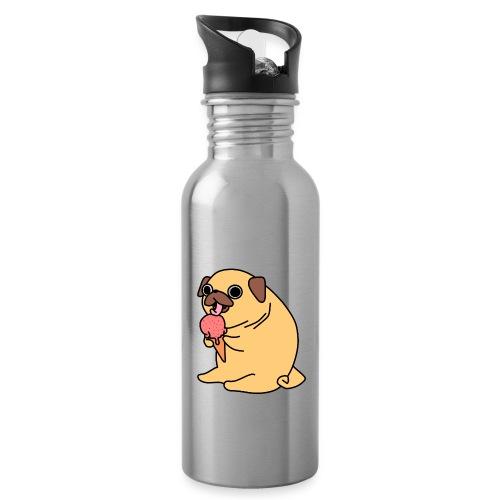 Eis essender Mops - Trinkflasche mit integriertem Trinkhalm