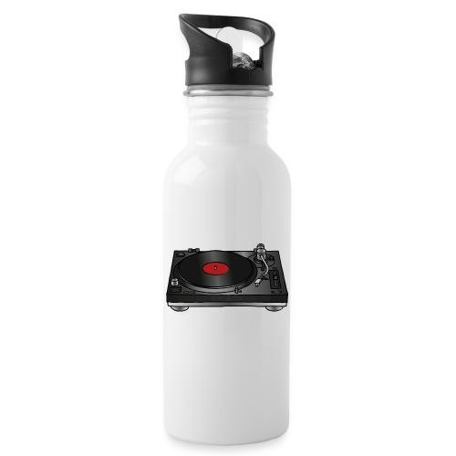 Plattenspieler VINYL - Trinkflasche mit integriertem Trinkhalm