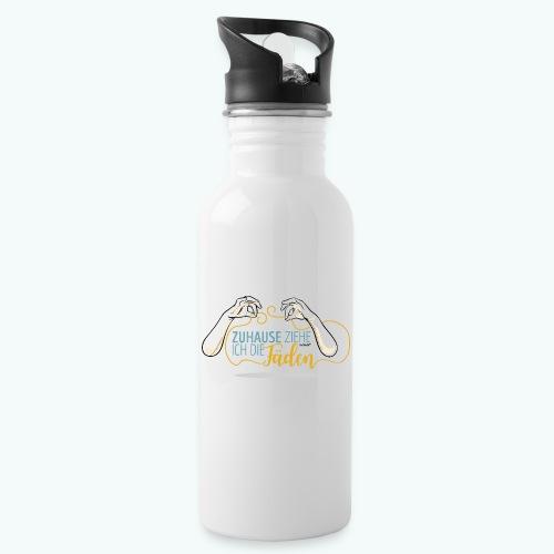 SPruch: Zuhause ziehe ich die Fäden - Trinkflasche mit integriertem Trinkhalm