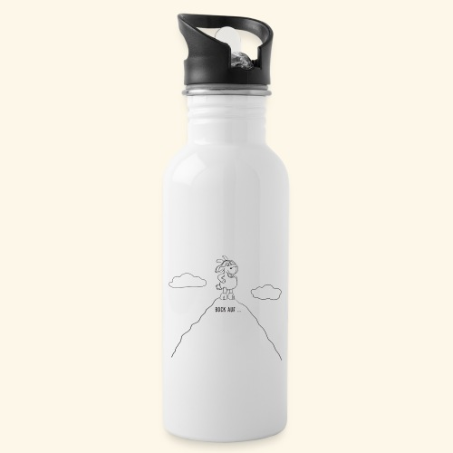Schafbock: Bock auf ... - schwarz - Trinkflasche mit integriertem Trinkhalm