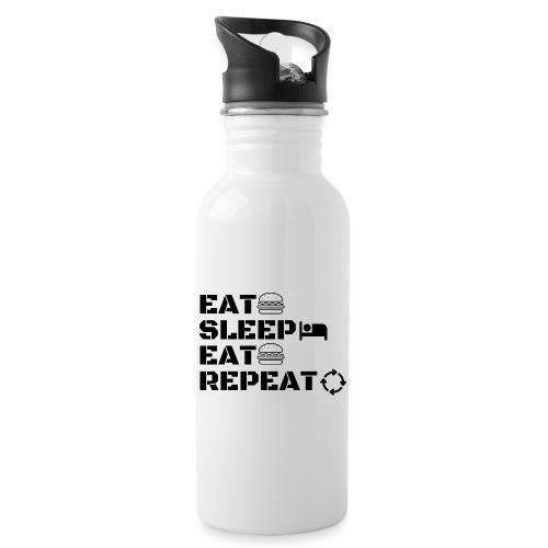 eat sleep eat repeat - Gourde avec paille intégrée