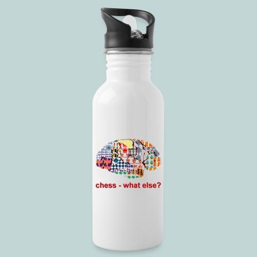 chess_what_else - Trinkflasche mit integriertem Trinkhalm
