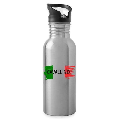 Cavallino auf Flagge - Trinkflasche mit integriertem Trinkhalm