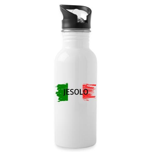 Jesolo auf Flagge - Trinkflasche mit integriertem Trinkhalm