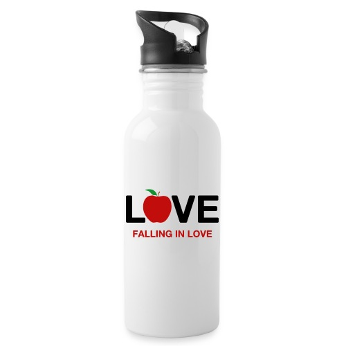 Falling in Love - Black - Water bottle with straw